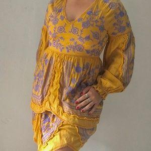 Anthropologie Embroidered Mustard Dress (M)